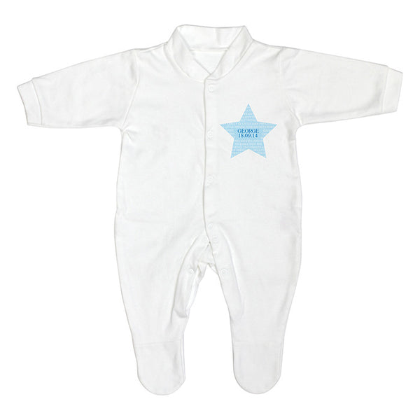 Personalised Baby Boy Sleepsuit (Star Design) - The Simply Small Company