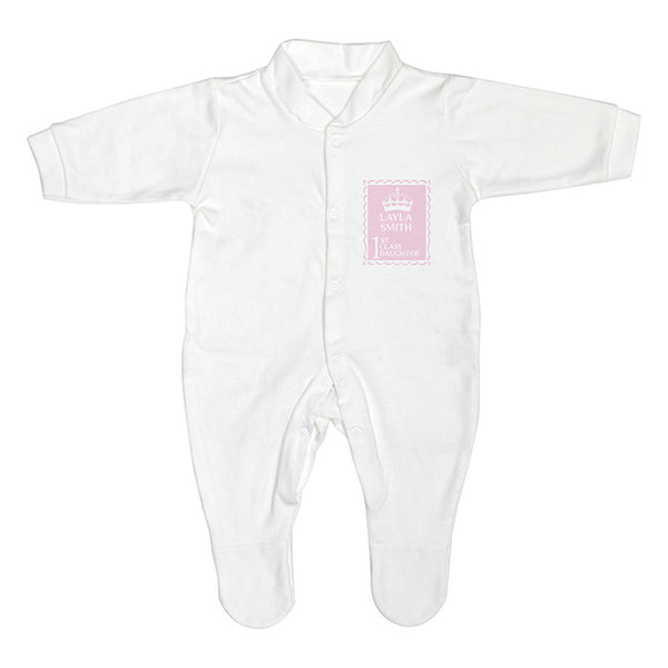 Personalised Baby Girl Sleepsuit First Class Baby - The Simply Small Company
