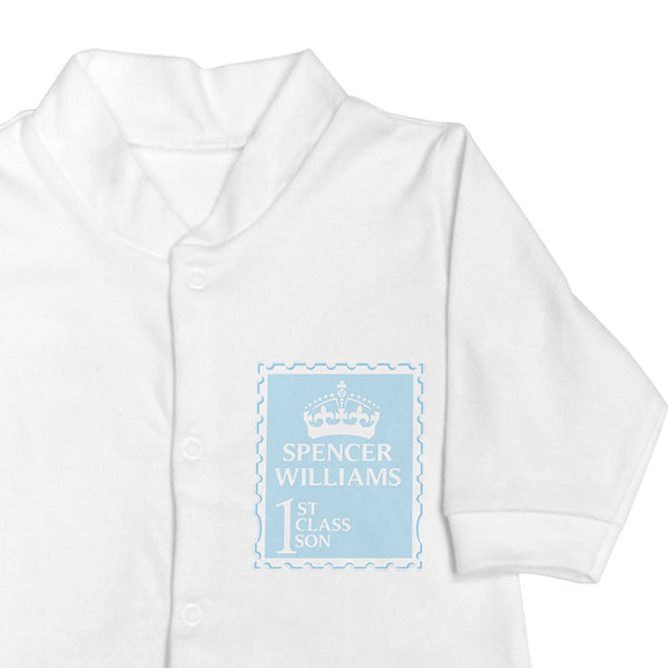 Personalised Baby Boy Sleepsuit: First Class Baby - The Simply Small Company