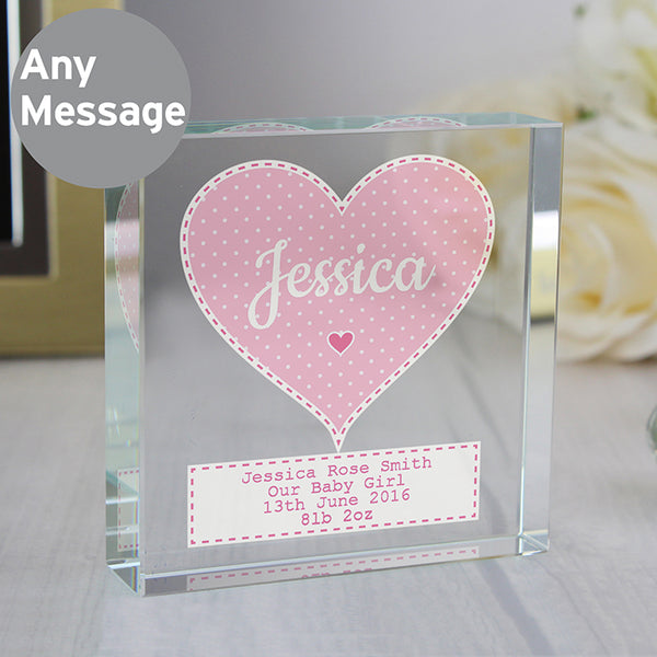 Personalised Pink Heart Baby Girl's Keepsake Crystal Token