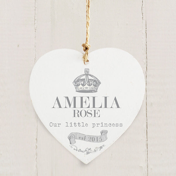 Personalised Wooden Heart Keepsake for New Baby or Christening/Naming Day Gift - The Simply Small Company
