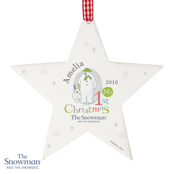Personalised The Snowman & Snowdog My First Christmas Wooden Tree Decoration