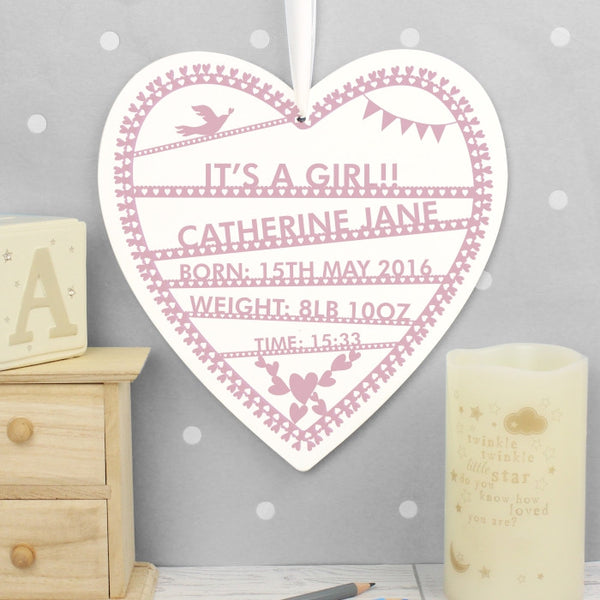 Personalised Papercut Wooden Heart Keepsake For Christening or New Baby Girl - The Simply Small Company