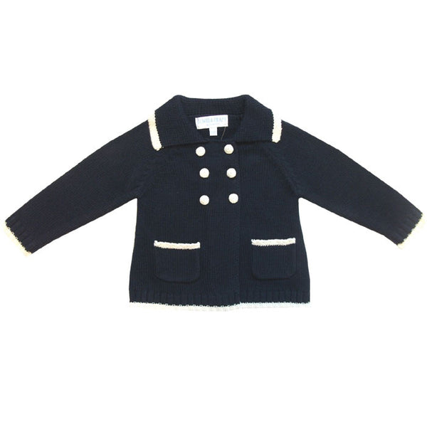 Powell Craft Navy Double Breasted Knitted Cardigan/Pramcoat