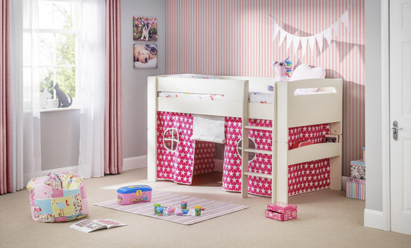 Pluto Midsleeper Bed (With Optional Pink Tent) - The Simply Small Company