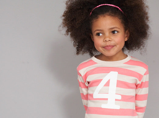 Posy Pink & Sand Striped Long Sleeve T-Shirt with Number 1 - The Simply Small Company