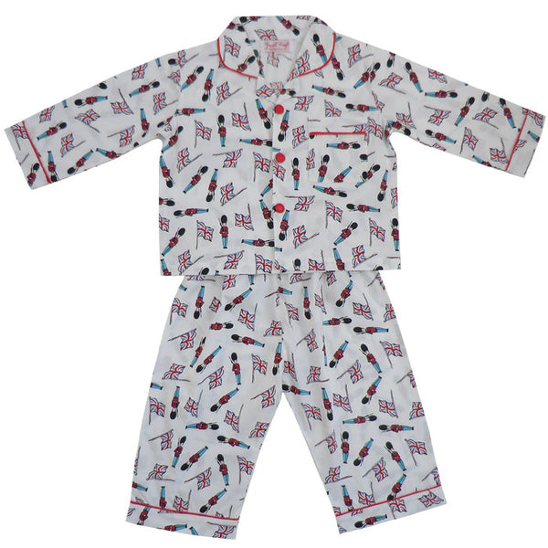 Powell Craft Boys' 'Monty' Pyjamas (Soldier and Flag Design) - The Simply Small Company