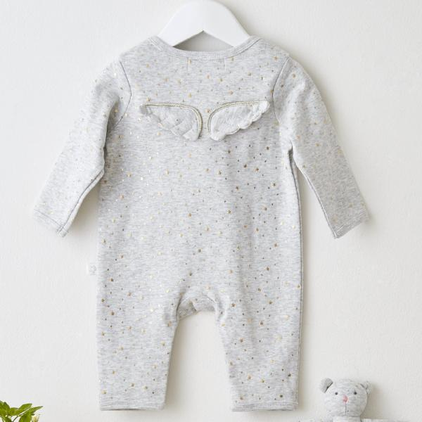 Albetta Grey Gold Star Angel Wings Sleepsuit/Babygrow