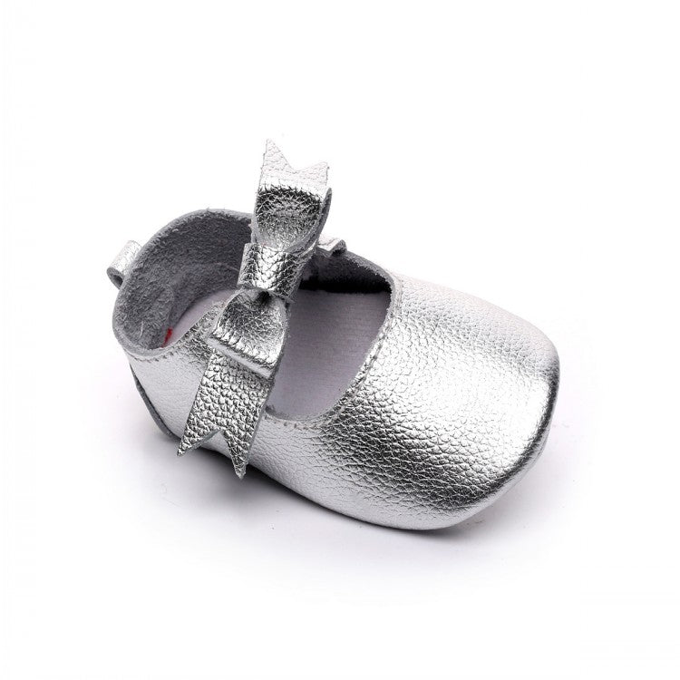 Baby Girl Leather Mary Jane Bow Pre-Walker Pramshoes (Silver)