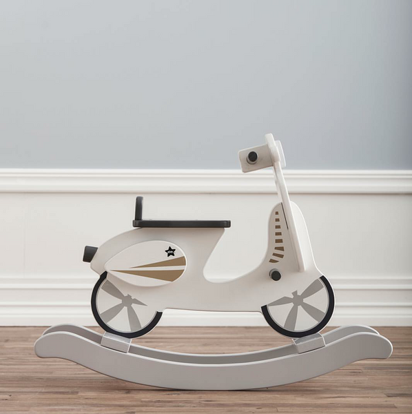 White Wooden Rocking Scooter/Vespa (Grey Star)