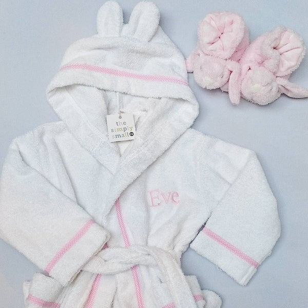 Personalised Baby & Toddler Bathrobe/Dressing Gown (Pink) - The Simply Small Company