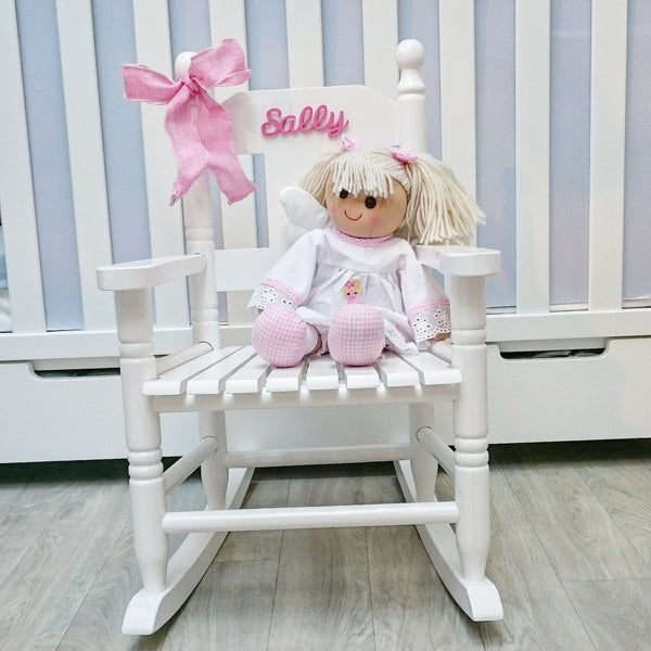 Wooden Rocking Chair in Pink, White or Blue (Personalised) - The Simply Small Company