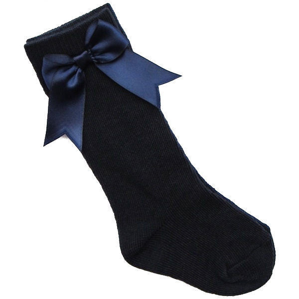 Navy Bow Below the Knee Sock - The Simply Small Company