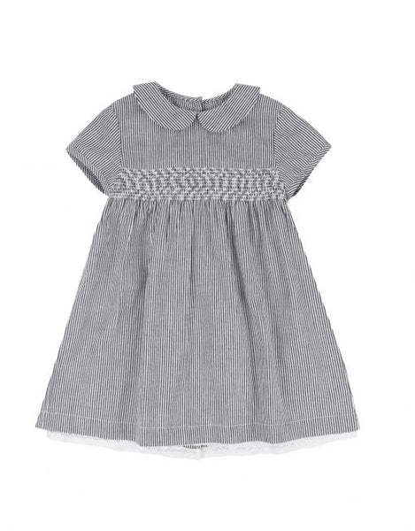 Amelie Smocked Grey Striped Dress by Little Cotton Clothes