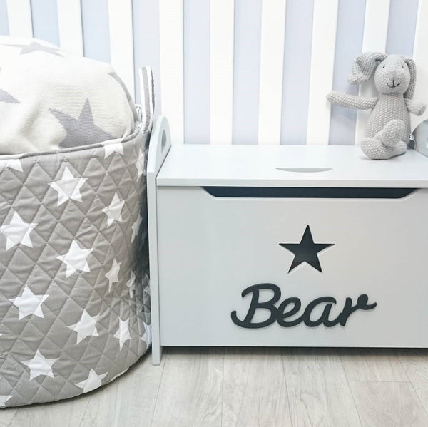 Grey Wooden Storage Chest/Toy Box (Star)