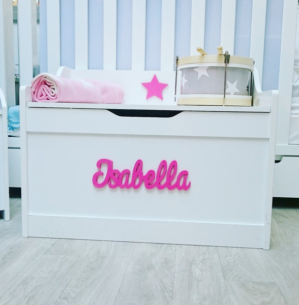 Large White Wooden Storage Chest/Toy Box/Seat (Personalised) - The Simply Small Company