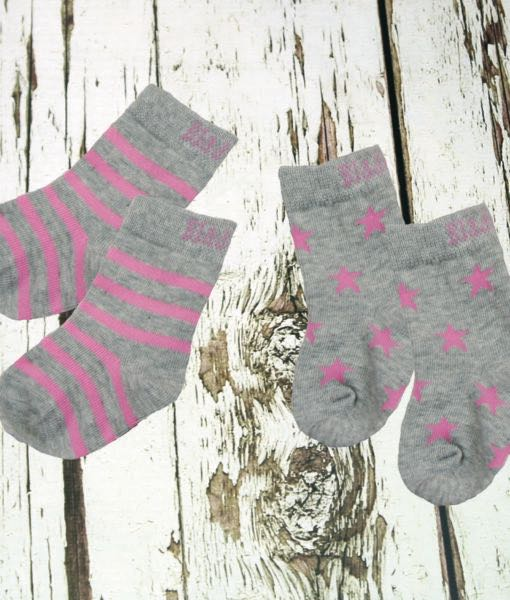 Blade & Rose Baby Girl's Grey and Pink Socks - The Simply Small Company