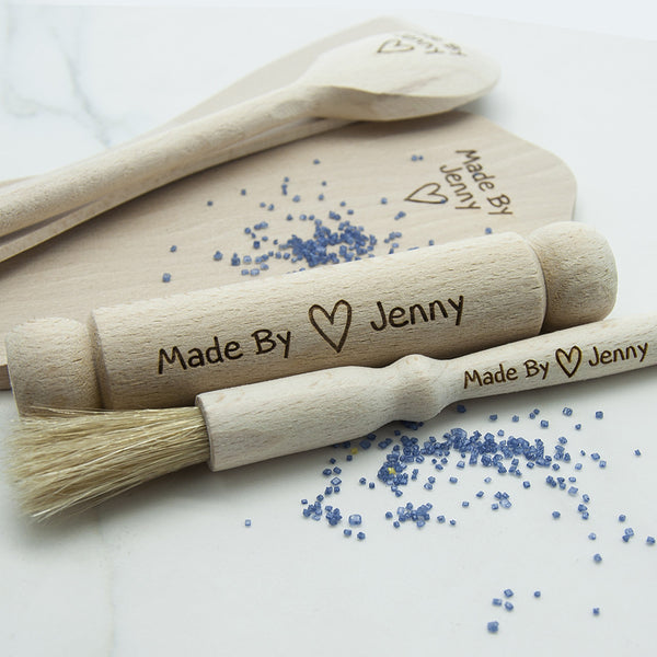 Personalised Wooden Baking Set for Boys & Girls - The Simply Small Company