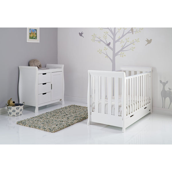 Stamford White Two Piece Nursery Room Set Featuring Mini Cot Bed - The Simply Small Company
