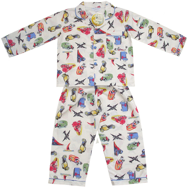 Powell Craft Boys' Transport Pyjamas (Planes, trains and cars)