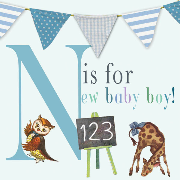 N is for New Baby Boy Vintage inspired New Baby Card