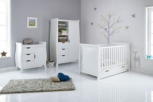 Stamford White Three Piece Nursery Room Set Featuring Sleigh Cotbed