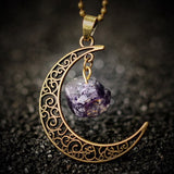 Crescent Moon & Natural Stone Crystal Necklace