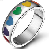LGBT -Rainbow hearts ring wedding party gay pride