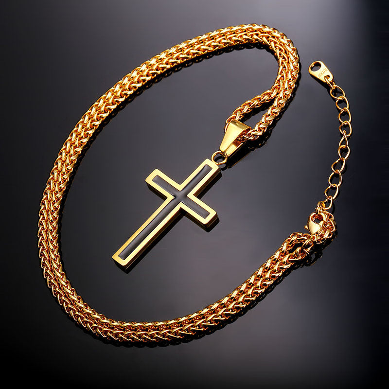 Cross necklace christian jewelry stainless steel18k real gold cross necklace christian jewelry stainless steel18k real gold plated chain cross necklace aloadofball Choice Image