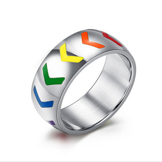 lgbt ring for women men resin arrow rainbow wedding rings - Rainbow Wedding Rings