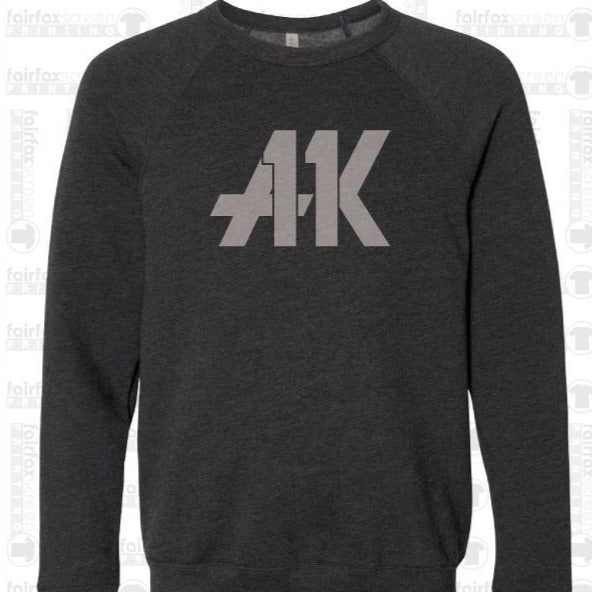 AK11 Dark Gray Raglan Fleece Sweatshirt