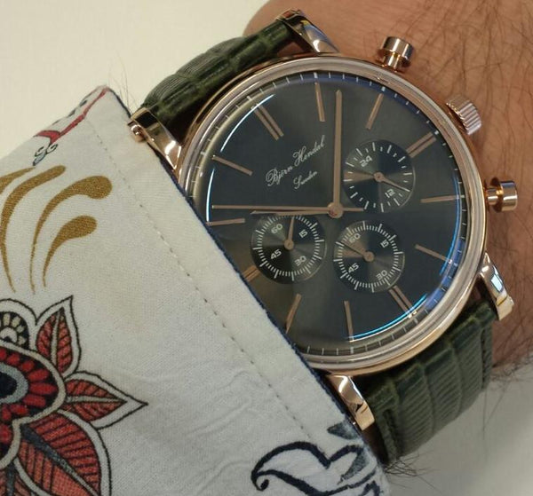 Björn Hendal Chronograph Rose Gold Grey Dial Brown Ostrich strap