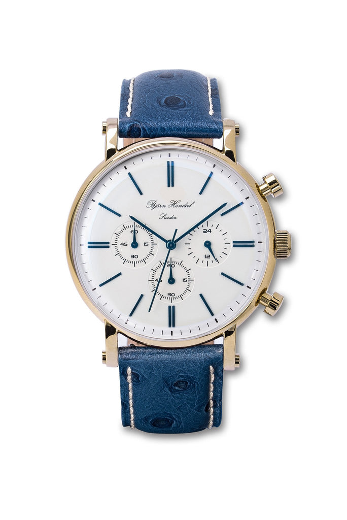 "Now available Björn Hendal Chronograph ""Varberg"" Blue Ostrich leather Strap"