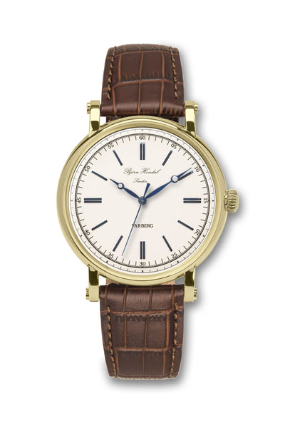 Björn Hendal Varberg Flytande Yellow Gold White Dial Brown Croco