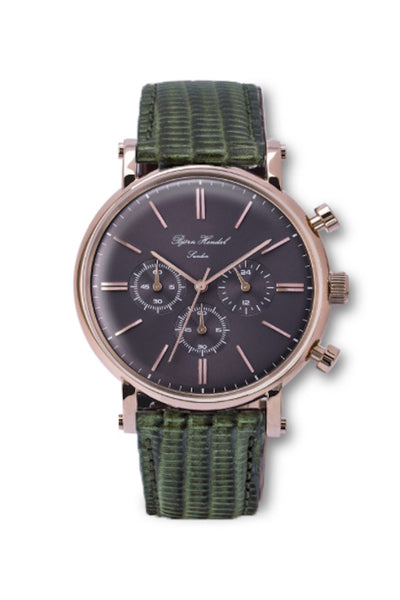 "Björn Hendal Chronograph Rose Gold  Grey Dial  ""Varberg""  Green Lizard"