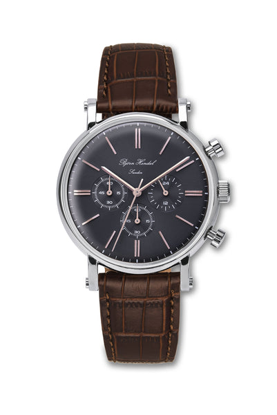 "Björn Hendal Chronograph Stainless Steel Grey Dial Rose ""Varberg"" Brown Croco"