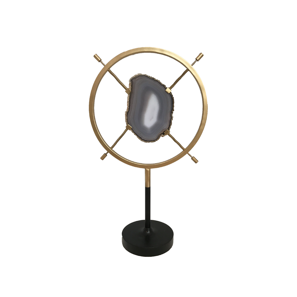 Agate Slice in Brass Round Stand