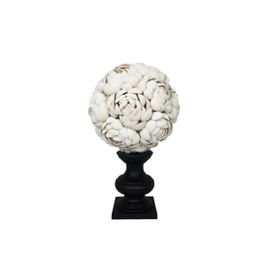White Anadora Shells Sphere on Stand