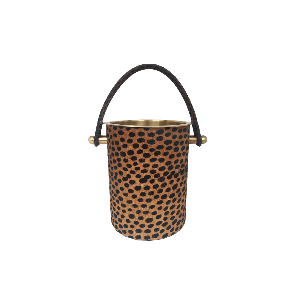 Brass Icebucket with Leopard Decorations