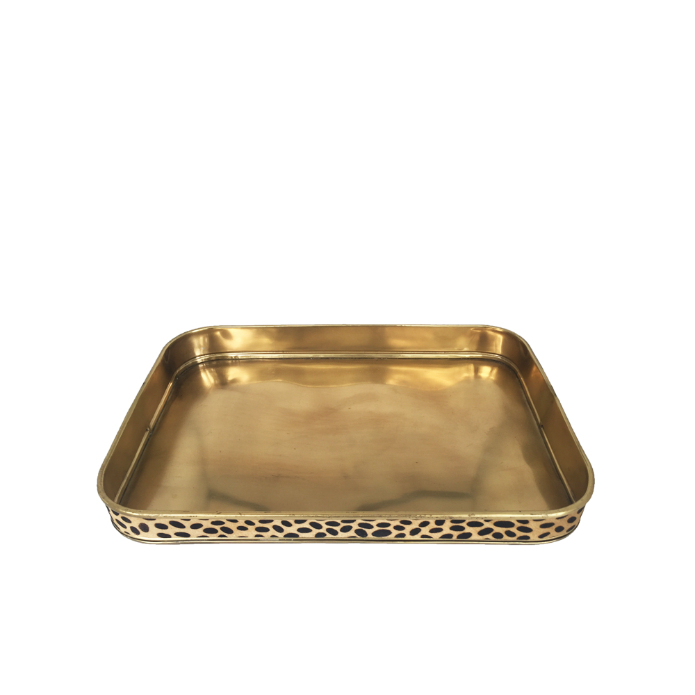 Tray In Brass Finish and Leopard Decorations