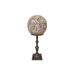 Carved Stone on Brass Stand