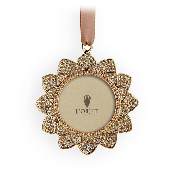 Flower Pave Frame Ornament - Gold