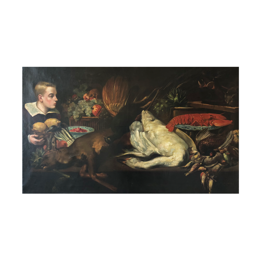 Large Hunting Still Life Oil Painting