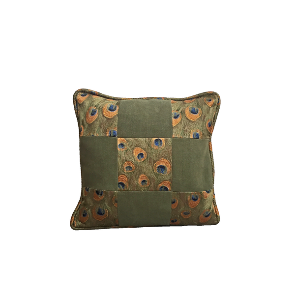 Peacock and Suede Cushion