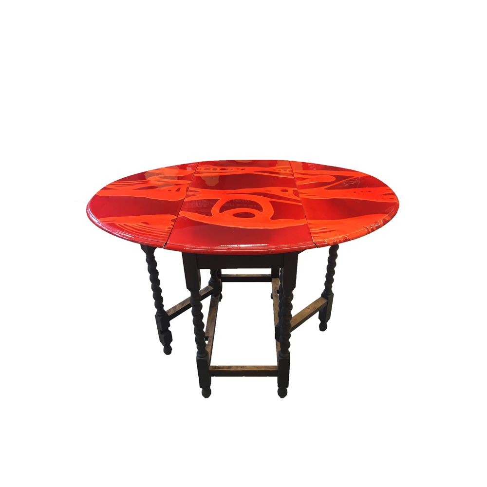 Red Oval Side Table