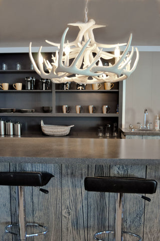 W12 White antler chandelier