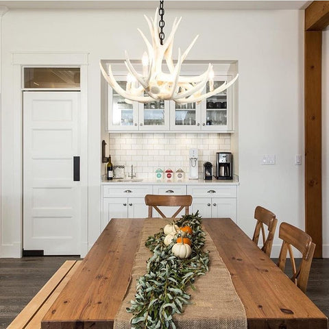 D6 White Antler Chandelier