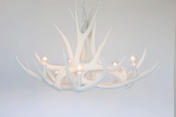 Bright White Antler Chandelier, D6 Faux Antler Chandelier