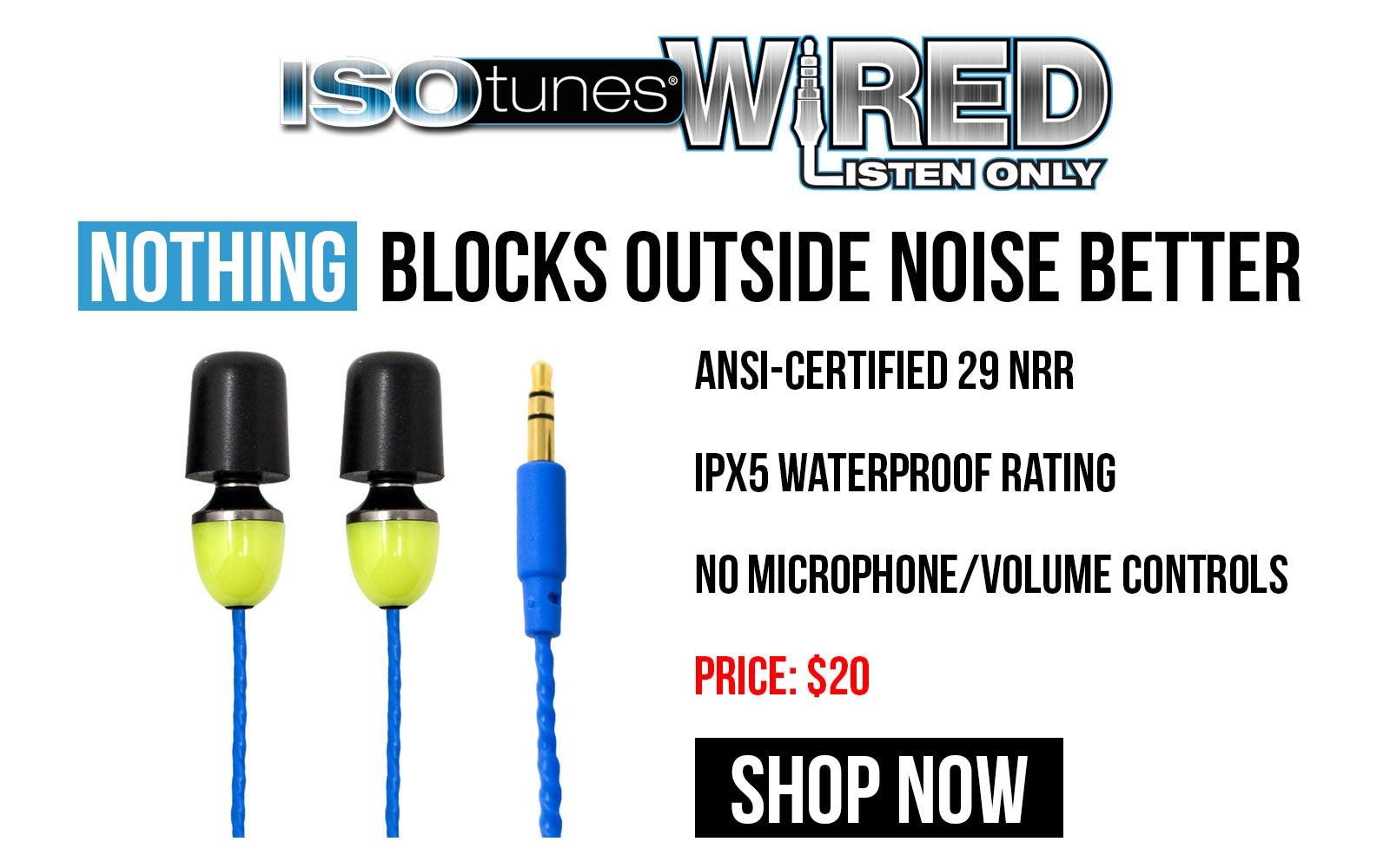 ISOtunes Wired Listen Only