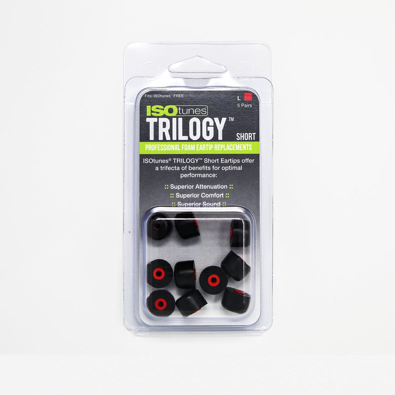 Short TRILOGY™ Foam Replacement Eartips for ISOtunes FREE  (5 Pair Pack)